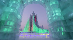 China, Heilongjiang Province, Harbin, Snow & Ice World Festival - stock footage
