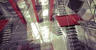 Stock Illustration of 3d space. modern industrial interior, stairs, clean space in industry buildin