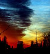 city skyline sundown - stock photo