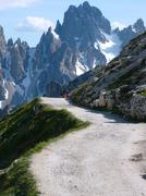 Walkway in Tre Cime in the Dolomites - Alps Stock Photos