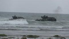 US - Army - Landing Tanks 07  Stock Footage