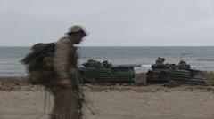 US - Army - Landing Tanks 10 Stock Footage