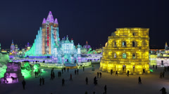 China, Heilongjiang Province, Harbin, Snow & Ice World Festival Stock Footage