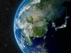 east asia from space - stock illustration