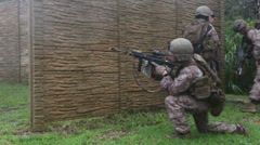 US - Army - Marines Sailors Attack Simulation 05 - stock footage