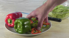 Making a salad with bell peppers Stock Footage