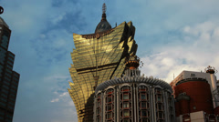HD video of the stunning Grand Lisboa casino hotel in Macau Stock Footage