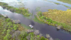 Aerial video of Airboats on tour in the Everglades Florida Stock Footage