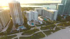 Aircraft point of view of Bal Harbour Beach Stock Footage