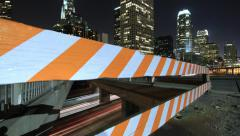 Time Lapse Through Construction Barrier Reveals Downtown LA Stock Footage