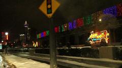Night driving at Niagara Parkway,  Skylon Tower, Holidays Stock Footage