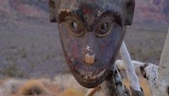 African Mask Primitive in Wilderness Close Up Stock Footage