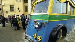 Trolleybus blockade of Leningrad 2.7K. Stock Footage