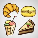 Stock Illustration of sketch style sweets - cake, croissant, macaroon