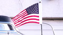 USA Flag, red white and blue detail of flag blowing slowly in the breeze. Stock Footage