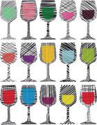 wine glasses illustration - stock illustration