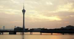 4K video of the stunning Macau Tower and Nam Van Lake at sunset Stock Footage