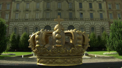 Swedish crown with Royal Palace, Stockholm Stock Footage