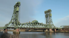 The Newport Lift Bridge, Middlesbrough, England Stock Footage