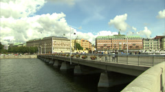 Back and forth pan of Stockholm's historic town centre Stock Footage