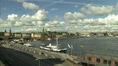 Wide angle view of the eastern waterfront of Gamla Stan, Stockholm Stock Footage