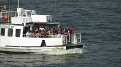 Ferry to Djurgården with passengers, Stockholm Stock Footage
