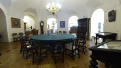Round table for meetings. Kunstkamera. Saint-Petersburg 2.7K. Stock Footage