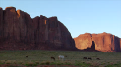 Navajo Horses Graze in Beautiful Monument Valley Stock Footage