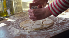 Cutting round shape dough with glass, super slow motion, shot at 240fps HD Stock Footage