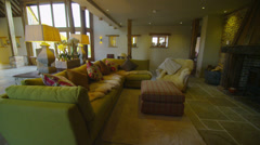 Interior view of the living area in a stylish country home - stock footage