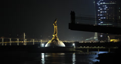 4K video of the Statue of Kun Lam in Macau Stock Footage