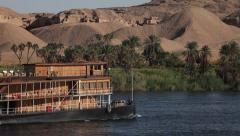 Sudan cruise ship passes on the Nile, Egypt Stock Footage