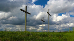 Easter Crosses and Timelapse Clouds Inspirational HD Stock Footage