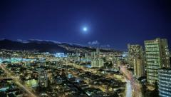 4k Cityscape full moon rising landscape time lapse, HDR, Honolulu, Hawaii Stock Footage