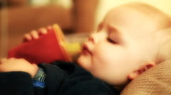 Little toddler resting sick with a flu Stock Footage