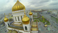 Stock Video Footage of Edifice with golden cupolas of Christ the Saviour Cathedral