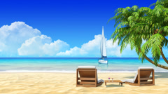 Palms, chaise longue on tropical beach. Holidays, resort, rest, travel design. Stock Footage