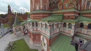 Stock Video Footage of edifice of Saint Basils Cathedral against cityscape