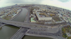 Cityscape on Big Ustyinsky bridge and Kotelnicheskaya quay Stock Footage