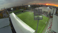 Stock Video Footage of Soccer team plays on Small Sports Arena of Locomotive stadium