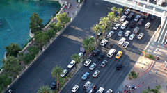 Road Traffic at Las Vegas Strip (near Bellagio hotel & casino) Stock Footage