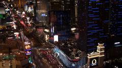 Las Vegas at night. Bird's-eye view. Stock Footage