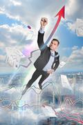 hero businessman flies in the top, like Superman - stock illustration