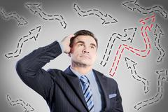 Confused businessman looking for the correct way Stock Illustration