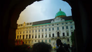 Stock Video Footage of Hofburg Palace with tourists on in Vienna, Austria.time lapse,