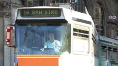 A tram heading towards the San Siro in Milan, Italy Stock Footage