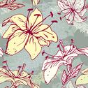 Stock Illustration of floral seamless pattern with hand drawn flowers - tiger lilly.