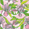 Stock Illustration of floral seamless pattern with hand drawn flowers - orchids on pink background.