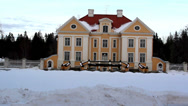 Stock Video Footage of the view of a big old manor house in estonia baltic