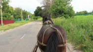 Stock Video Footage of Rural countryside scape, horse harnessed carrying cart, village, click for HD